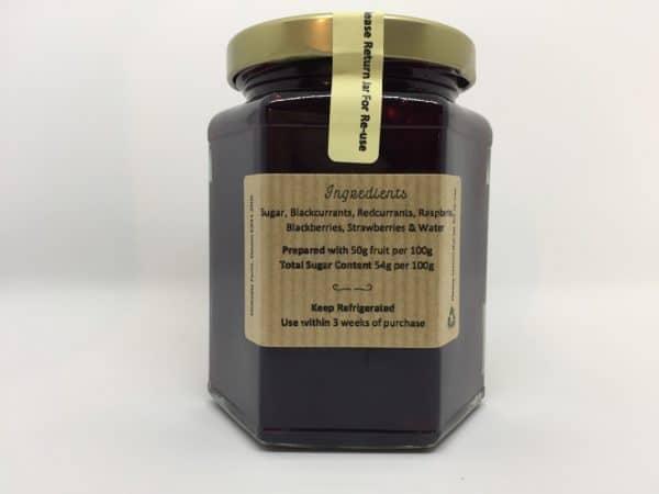 Summer Berry Jam, Homemade at Chilcotts Farm. Full of delicious home grown berries. 340g reverse